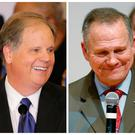 A combination photo shows Democratic Alabama U.S. Senate candidate Doug Jones (L) and Republican U.S. Senate candidate Roy Moore (R) at their respective election night parties in Birmingham and Montgomery, Alabama, U.S., December 12, 2017. REUTERS/Marvin Gentry/Jonathan Bachman