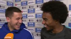 Eden Hazard shares a laugh with Willian. CREDIT: BT SPORT FOOTBALL TWITTER