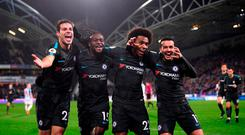 Cesar Azpilicueta, Victor Moses, Willian, and Pedro of Chelsea celebrate Pedro's goal last night
