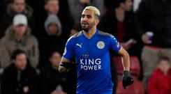 Soccer Football - Premier League - Southampton vs Leicester City - St Mary's Stadium, Southampton, Britain - December 13, 2017 Leicester City's Riyad Mahrez celebrates scoring their first goal REUTERS/Toby Melville
