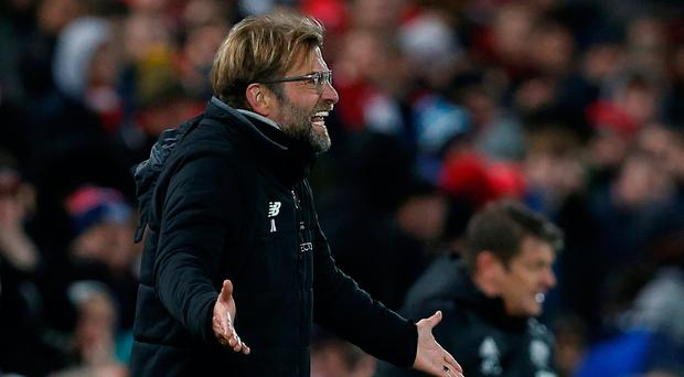 Soccer Football - Premier League - Liverpool vs West Bromwich Albion - Anfield, Liverpool, Britain - December 13, 2017 Liverpool manager Juergen Klopp reacts REUTERS/Andrew Yates