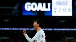 Soccer Football - Premier League - Tottenham Hotspur vs Brighton & Hove Albion - Wembley Stadium, London, Britain - December 13, 2017 Tottenham's Son Heung-min celebrates scoring their second goal Action Images via Reuters/Andrew Couldridge