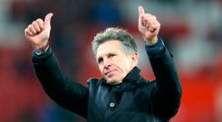 Leicester City Manager Claude Puel gives his club's fans the thumbs-up. Photo: PA