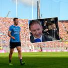 Jack McCaffrey looks on against Mayo in All Ireland final and (inset) has some fun at celebration dinner