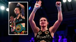 Katie Taylor celebrates win over McCaskill and (inset) world number one Delfine Persoon