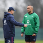 9 February 2017; Ireland head coach Joe Schmidt speaks to Simon Zebo during squad training at Carton House in Maynooth, Co. Kildare. Photo by Stephen McCarthy/Sportsfile