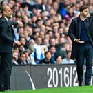 Pep Guardiola and Mauricio Pochettino will enjoy another battle of wits tomorrow. Photo: Glyn Kirk/Getty Images