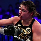 Katie Taylor lands a right hand during her victory over Jessica McCaskill in London on Wednesday night. Photo: Sportsfile