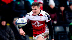 Jacob Stockdale in action for Ulster during last week's impressive victory away to Harlequins. Photo: Sportsfile