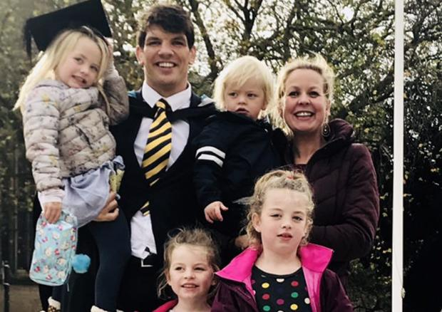 Donncha O'Callaghan with wife Jenny and their four kids