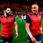 Kevin O'Byrne, left, and Simon Zebo of Munster after Leicester match last week