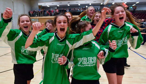 Players from Presentation Secondary School from Ballyphehane, Cork celebrate following their victory during the FAI Post Primary Schools Futsal. Photo: Sportsfile