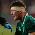 Peter O'Mahony receives treatment for a head injury during the November international series against Argentina - the Munster captain signed a new three-year contract yesterday. Photo by Piaras Ó Mídheach/Sportsfile