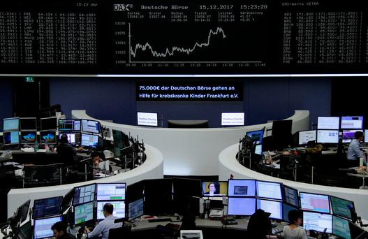 The German share price index DAX board is seen at the stock exchange in Frankfurt