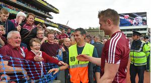 Galway's Joe Canning celebrates with his mother Josephine following the GAA Hurling All-Ireland Senior Championship Final match between Galway and Waterford at Croke Park