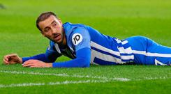 Soccer Football - Premier League - Brighton & Hove Albion vs Burnley - The American Express Community Stadium, Brighton, Britain - December 16, 2017 Brighton's Glenn Murray reacts after being fouled by Burnley's James Tarkowski to win a penalty REUTERS/Hannah McKay
