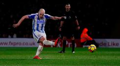 Soccer Football - Premier League - Watford vs Huddersfield Town - Vicarage Road, Watford, Britain - December 16, 2017 Huddersfield Town's Aaron Mooy scores their fourth goal from a penalty. Action Images via Reuters/Peter Cziborra
