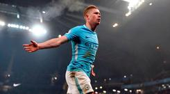 Manchester City's Kevin De Bruyne celebrates scoring his side's second goal of the game during the Premier League match at the Etihad Stadium, Manchester. PRESS ASSOCIATION Photo. Picture date: Saturday December 16, 2017. Photo credit should read: Martin Rickett/PA Wire.