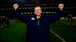 16 December 2017; Sean Cronin of Leinster celebrates their victory following the European Rugby Champions Cup Pool 3 Round 4 match between Leinster and Exeter Chiefs at the Aviva Stadium in Dublin. Photo by Ramsey Cardy/Sportsfile