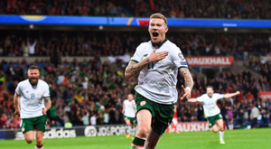 9 October 2017; James McClean of Republic of Ireland celebrates after scoring his side's goal during the FIFA World Cup Qualifier Group D match between Wales and Republic of Ireland at Cardiff City Stadium in Cardiff, Wales. Photo by Stephen McCarthy/Sportsfile