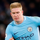 Man of the match Kevin De Bruyne. Photo: PA