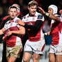 Ulster players celebrate during their victory over Harlequins on Friday. Photo: Getty Images
