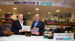 Sean Gallagher with Brian O'Donoghue, CEO Virginia Medical Supplies. Photo Tom Conachy