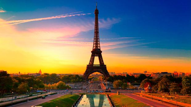 Parisian joie de vivre, where iconic landmarks include the Eiffel Tower, Arc de Triomphe, the Louvre, and the Sacre Coeur