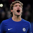 Chelsea's Marcos Alonso celebrates scoring the winner. Photo: Reuters
