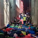 Around 100 people camped outside the GPO last night. Picture: Gaelic Voices for Change