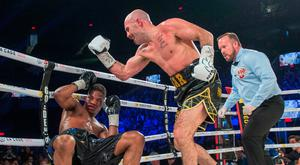 Gary O'Sullivan, of Ireland, knocks out Antoine Douglas, of the U.S., in the seventh round to win the WBO Intercontinental middleweight boxing championship title in Laval, Quebec