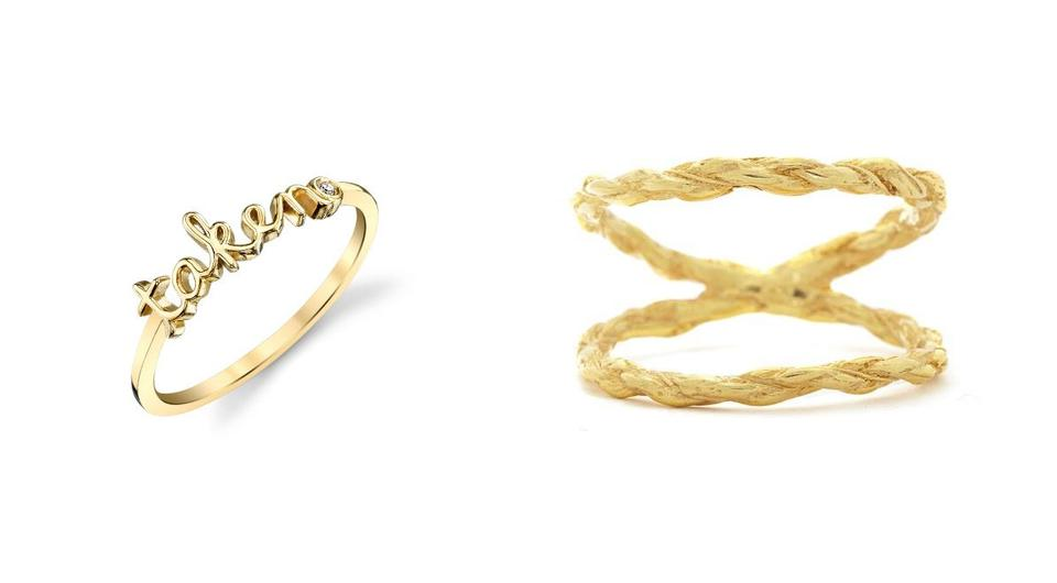 Yellow-Gold Plated Sterling Silver Taken Ring With Bezel Set Diamond, €110.00, http://www.sydneyevan.com | 'Twice as Strong', €139, Chupi