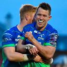 Matt Healy of Connacht is congratulated by teammate Darragh Leader after scoring his side's fourth try during the European Rugby Challenge Cup Pool 5 Round 4 match between Connacht and Brive at the Sportsground in Galway. Photo by Matt Browne/Sportsfile