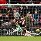 Hearts David Milinkovic scores his side's third goal