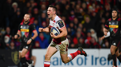 15 December 2017; John Cooney of Ulster scores his side's fifth try during the European Rugby Champions Cup Pool 1 Round 4 match between Ulster and Harlequins at the Kingspan Stadium in Belfast. Photo by Ramsey Cardy/Sportsfile