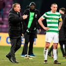 Celtic manager Brendan Rodgers and Scott Brown after the final whistle of the Ladbrokes Scottish Premiership match at Tynecastle