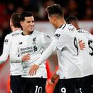 Rugby Union - European Champions Cup - Ospreys vs Northampton Saints - Liberty Stadium, Swansea, Britain - December 17, 2017 Liverpool's Philippe Coutinho celebrates scoring their first goal with Roberto Firmino Action Images via Reuters/Andrew Boyers