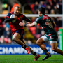 17 December 2017; Simon Zebo of Munster in action against Matt Toomua of Leicester Tigers during the European Rugby Champions Cup Pool 4 Round 4 match between Leicester Tigers and Munster at Welford Road in Leicester, England. Photo by Brendan Moran/Sportsfile
