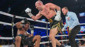Gary O'Sullivan knocks out Antoine Douglas, of the U.S. in the seventh round to win the WBO Intercontinental middleweight boxing championship title in Laval, Quebec. Photo: AP