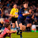 Luke McGrath evades the Exeter tackles to score Leinster's try Photo: Ramsey Cardy/Sportsfile