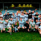 The Moorefield players celebrate after their victory which was clinched by a last-gasp point from Kevin Murnaghan. Photo by Piaras Ó Mídheach/Sportsfile