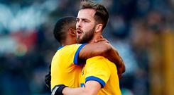Miralem Pjanic fired Juve ahead with a sumptuous free-kick before the half-hour mark. Photo: Reuters/Alessandro Garofalo