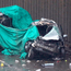 Road carnage: The wrecked remains of two of the cars Photo: Aaron Chown/PA Wire