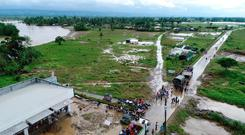An aerial view of the flooded areas at Tzu Chi Village in Barangay Liloan, Phillipines Photo: Reuters