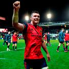 Peter O'Mahony of Munster celebrates after the European Rugby Champions Cup Pool 4 Round 4 match between Leicester Tigers and Munster at Welford Road in Leicester, England. Photo by Brendan Moran/Sportsfile