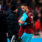 West Ham United's Marko Arnautovic infuriated his former manager on Saturday