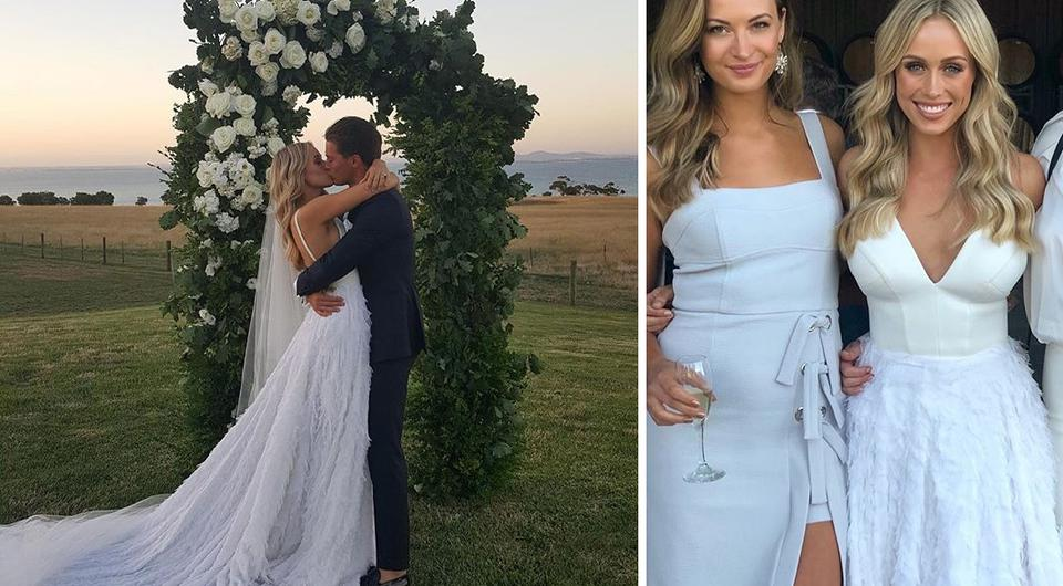 Neighbours co stars tie the knot in stunning black tie wedding junglespirit Image collections