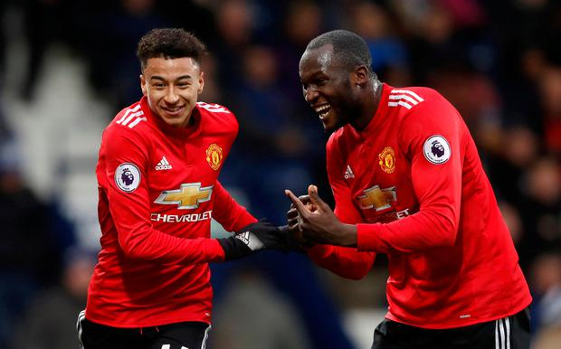 Manchester United's Jesse Lingard celebrates scoring their second goal against West Brom at the weekend with teammate Romelu Lukaku. Photo: REUTERS