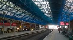 Safety netting on the roof at Pearse Street station