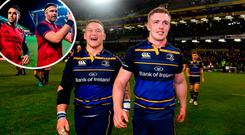 Leinster's Andrew Porter, left, and Dan Leavy celebrate their victory over Exeter and (inset) Conor Murray, centre, and Jean Kleyn of Munster after beating Leicester
